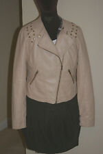 LIGHT BEIGE Womens Faux Leather PU BIKER JACKET uk16 us12 eu44 Chest c42in c107c