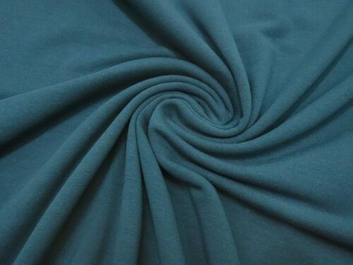 Stoff Sweatshirtstoff French Terry innen gerauht uni petrol blau Kleiderstoff