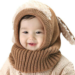 Toddler Kids Baby Girls Boys Warm Knit Winter Hat Scarf Earflap Beanie Skull Cap