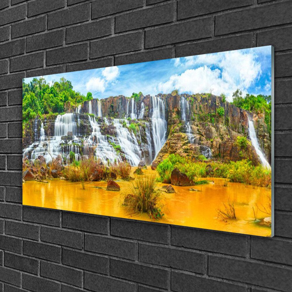 Tableau sur verre Image Impression 100x50 Nature Chute D'eau