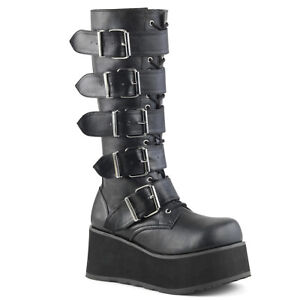 Demonia TRASHVILLE-518 Men's Black Combat Platform Goth Cosplay Punk Knee Boot