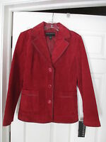Bernardo Oxblood Maroon Red Suede Leather Blazer Jacket Size M Gorgeous