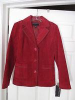 Bernardo Oxblood Maroon Red Suede Leather Blazer Jacket Size M Gorgeous