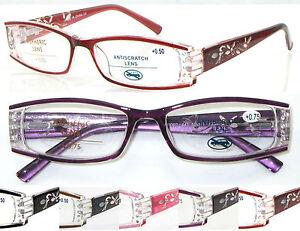 L441-Ladies-039-Super-Pretty-Reading-Glasses-Diamante-Fancy-Laser-Arm-Spring-Hinges