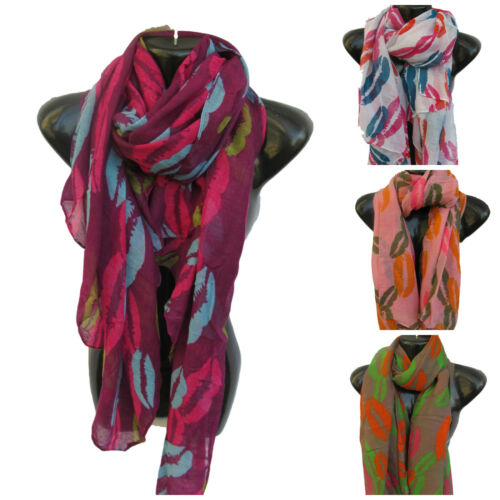 4 COLOURS LARGE HOT LIPS DESIGN LADIES SCARF SHAWL SARONG 170cm x 90cm UK SELLER