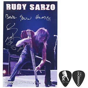 Rudy Sarzo Autographed Poster & Signature Guitar Pick Collector's Pack