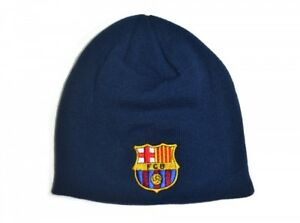 898c770535e Image is loading Barcelona-FC-Blue-Knitted-Beanie-Winter-Hat-Football-