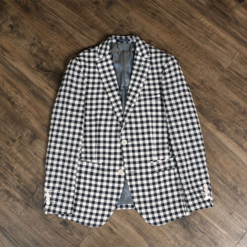Black/&White Check Plaid Summer Linen Mens Suits 2 Button Leisure Sports Blazer