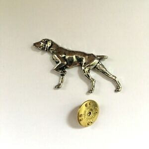 Hand Made Gift Box Pointer Dog English Pewter Lapel Pin Badge Brooch