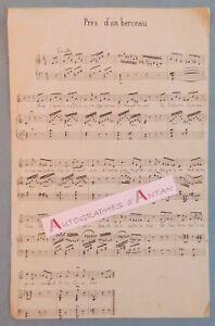 Partition-musicale-manuscrite-autographe-Pres-d-039-un-berceau-initiales-PR