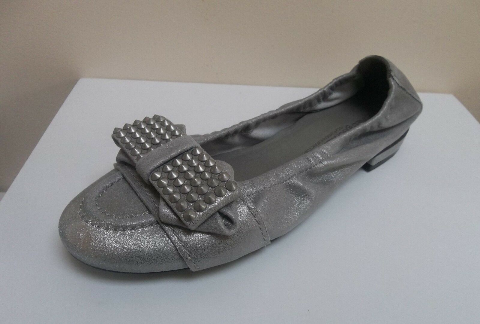 K&S Malu steel shimmer leather bow detail flats,  UK 3/EU 36,   flats, BNWB 692a71