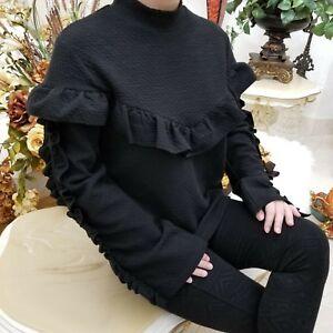5d53fdecef1 Lumie Ruffle-Trim Women s Long Sleeve Black Sweatshirt Top Size ...
