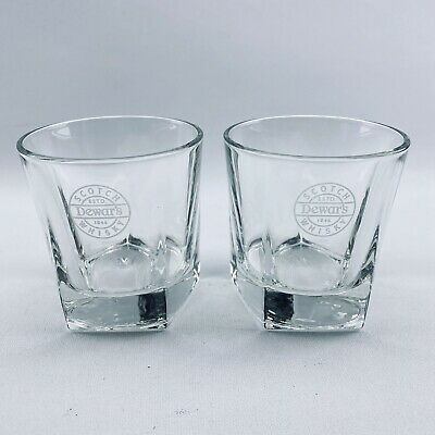 Libbey set 2 Dewars White Label Scotch Whisky Rocks Glasses Heavy Pentagon Base