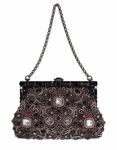 40b5f8e640b3 NEW  6900 DOLCE   GABBANA Black Crystal Bag VANDA Baroque Evening ...