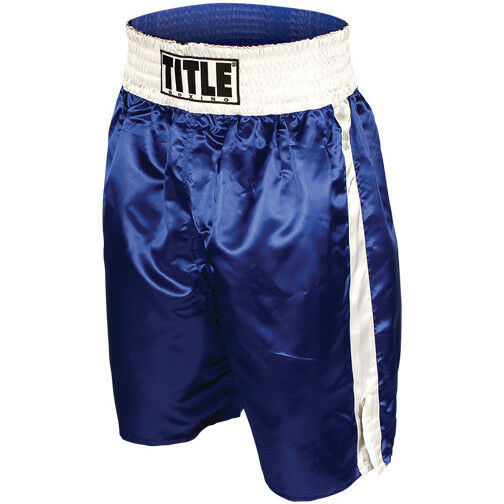 Title Professional Boxing Trunks - bluee White