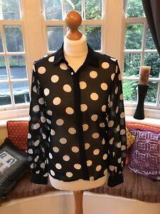 Gorgeous-Ladies-Chiffon-Atmosphere-Long-Sleeve-Spotty-Shirt-Blouse-Size-8