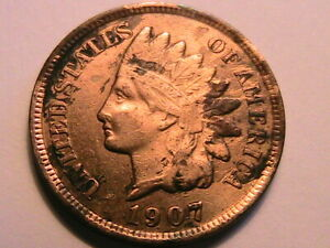 1907-Very-Fine-Indian-Head-Cent-VF-One-Small-Penny-US-Coin
