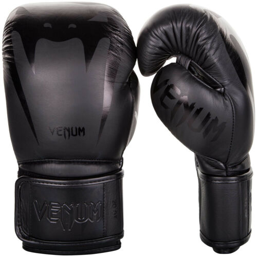 Venum Giant 3.0 Boxing Gloves Nappa Leather Sparring Muay Thai Black Black