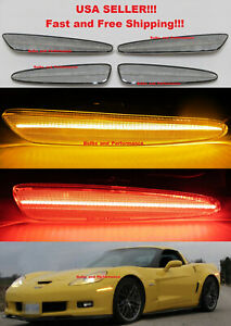 CLEAR-LENS-LED-SIDE-MARKERS-FOR-2005-2013-CHEVY-C6-CORVETTE-FRONT-amp-REAR-SET