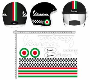 ADESIVI-CASCO-VESPA-Bianco-Kit-Strisce-Bandiere-Italia-Cerchio-Helmet-VINILE