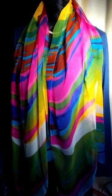 100% Silk Scarf,Exquisite,Sensual*Long Soft<Rainbow Dancer>Delightul>> *BR