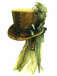 Steampunk-Brown-textured-Leather-Look-Top-Hat-with-flower-and-net-trail