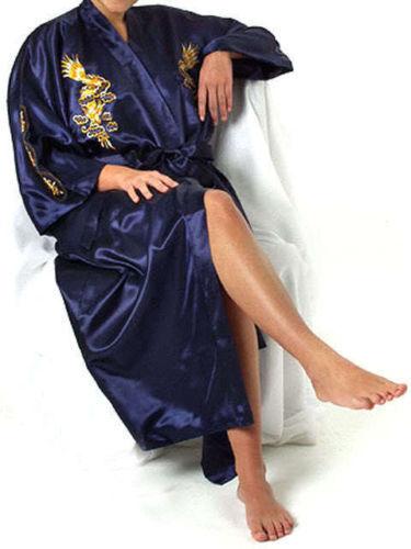 Man's Embroidery Dragon satin Kimono Robe Gown Bathrobe sleepwear
