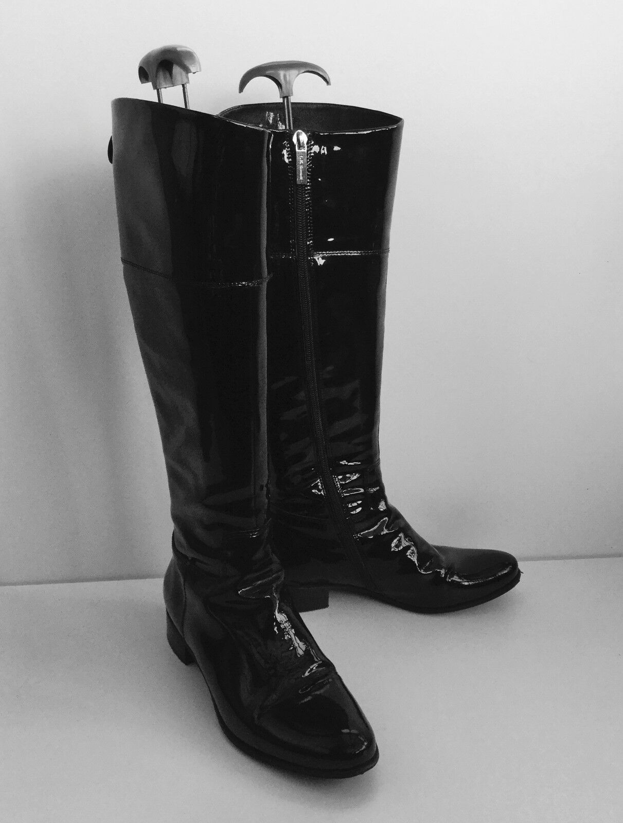 Grandes zapatos con descuento LK Bennett Darla Black Patent Knee Length Boots Size 4 (37) Immaculate Condition