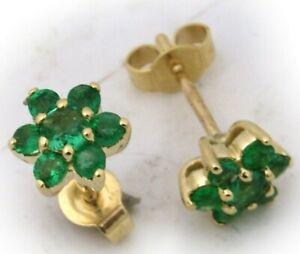 Damen-Ohrringe-echt-Smaragd-Gelbgold-750-Stecker-Gold-18-karat-Ohrstecker-Neu-To
