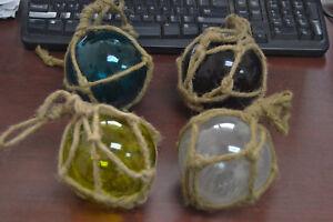 "4 PCS ASSORT REPRODUCTION COLOR BLOWN GLASS FLOAT FISHING BUOY BALL 4/"""