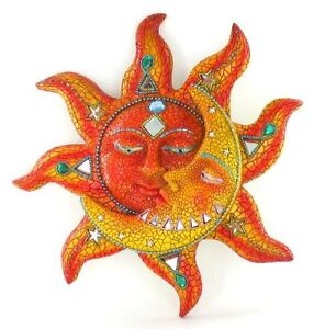 celestial sun moon mosaic wall art hanging metal home decor outdoor garden piece ebay. Black Bedroom Furniture Sets. Home Design Ideas