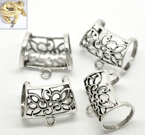 25PCs HOT Silver Tone Flower Hollow Out Bail Beads for Wrap Scarf 3.3x2.8cm