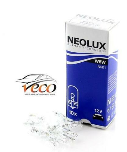 NEOLUX OSRAM 12 VOLT 12V 5 WATT W5W T10 WEDGE N501 AUTO LIGHT BULBS BOX OF 10