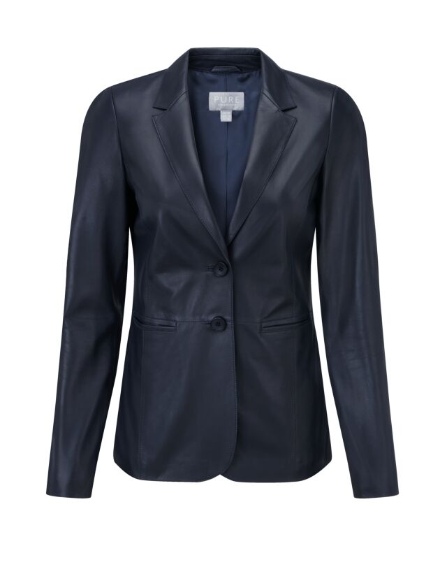 Pure Collection Leather Blazer Ink bluee Ladies UK Size 8 RRP  Box45 88 A