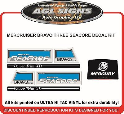 Mercury Bravo Three Seacore X Reproduction Decal Kit   Mercruiser