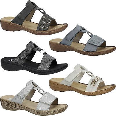 Damen Pantoffeln Rieker Pantoletten SlipperKlettverschluss Sommer Gr.36 42 NEU | eBay