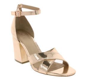 GUESS Schuhe Pumps stylische Damen Riemchen-Sandaletten Glanz-Optik Gold//Silber