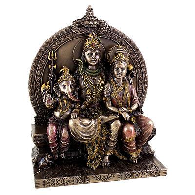 Shiva Family - Shiva, Parvati & Ganesh Hindu Deity Statue Sculpture Figure