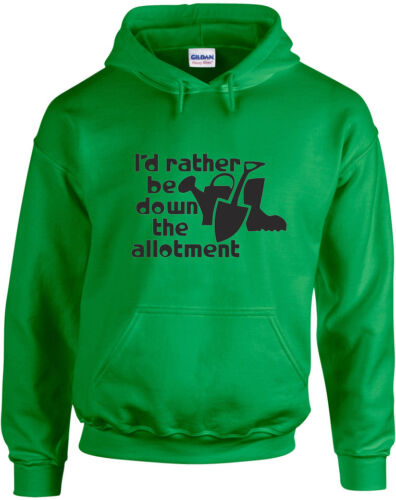 Allotment inspired Printed Hoodie I/'d Rather Be Down The Allotment
