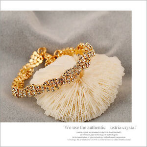 Women-Girl-14K-Gold-Filled-Jewelry-bracelet-gift-Attractive-Marquise-Crystal