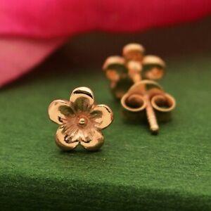 18K-Rose-Gold-Vermeil-Tiny-Small-Cherry-Blossom-Flower-Post-Stud-Earrings