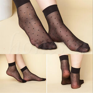 5-10-20-Pairs-Lady-Lace-Ultra-thin-Fiber-Denier-Sheer-Ankle-High-Pop-Dots-Socks