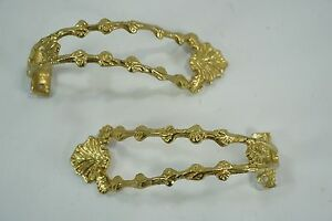 SET OF 2 VINTAGE ORNATE SOLID BRASS CURTAIN & DRAPE TIE BACK BRACKETS HOLDERS