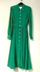 New-LK-Bennett-Runa-Verdant-Green-Shirt-Dress-Sz-UK-8-10-12
