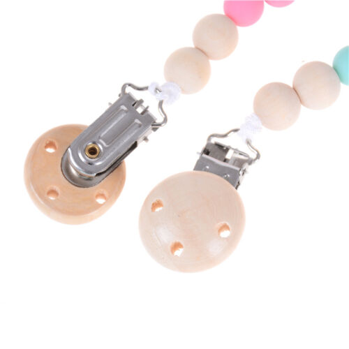 Candy Color Pacifier Clip Chain Holder Wood Silicone Beads Nipple Dummy Holderßß