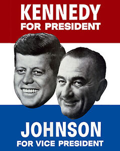 "Presidential Campaign Button 1960 John F Kennedy /& Lyndon Johnson 7//8/"" pin 04"