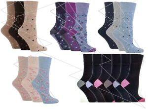 Ladies-Women-GentleGrip-Loose-Soft-Top-Diabetic-Non-Elastic-Socks-Floral-New-lot