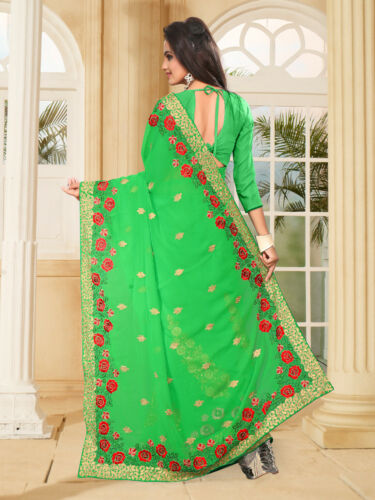 Details about  /Designer Green Multi Resham Embroidery Bollywood Sari Georgette Party Wear Saree