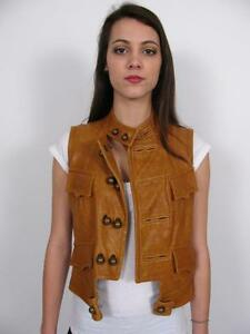 Leather Vest Brass Coat~40 Italy 6 Dsquared2 Brown Jacket Button Bobble Unisex qAFfHwT
