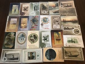 Lot-of-25-OLD-VINTAGE-NAUTICAL-SHIPS-BOATS-WATER-SCENES-POSTCARDS-s452